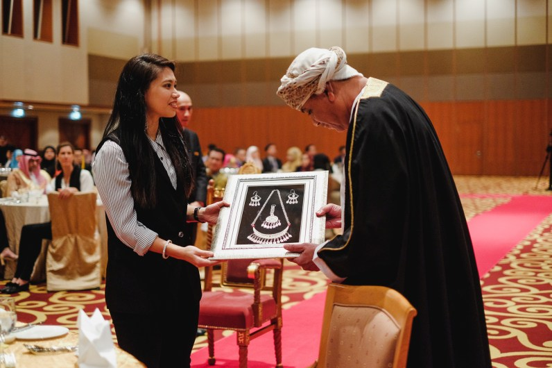 HRH Princess Fadzilah Lulabul Bolkiah receiving a token of appreciation from His Excellency Ali bin Khalfan Al-Jabri, Undersecretary of the Ministry of Information during the Omani Cultural Night. Feb 28, 2019. Photo: Hazimul Wa'ie/The Scoop