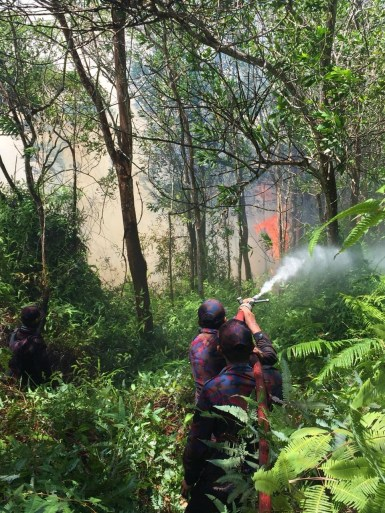 A firefighter battles a blaze in hilly terrain during a spate of forest fires that raged across Brunei-Muara from March 15 -18, 2019. Photo: Courtesy of Fire and Rescue Department