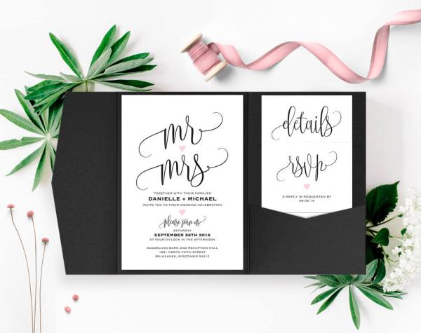Mr and Mrs with Pink Heart Etsy Wedding Invitation
