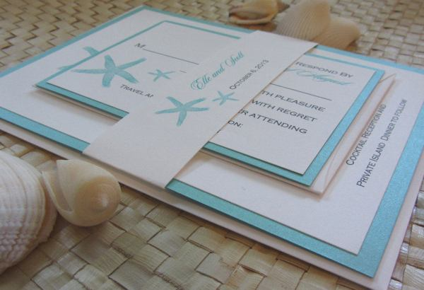Seafoam Starfish Etsy Wedding Invitations