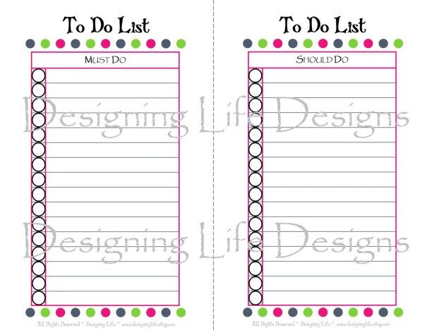 To-Do list 16 Printable Planner and Calendars