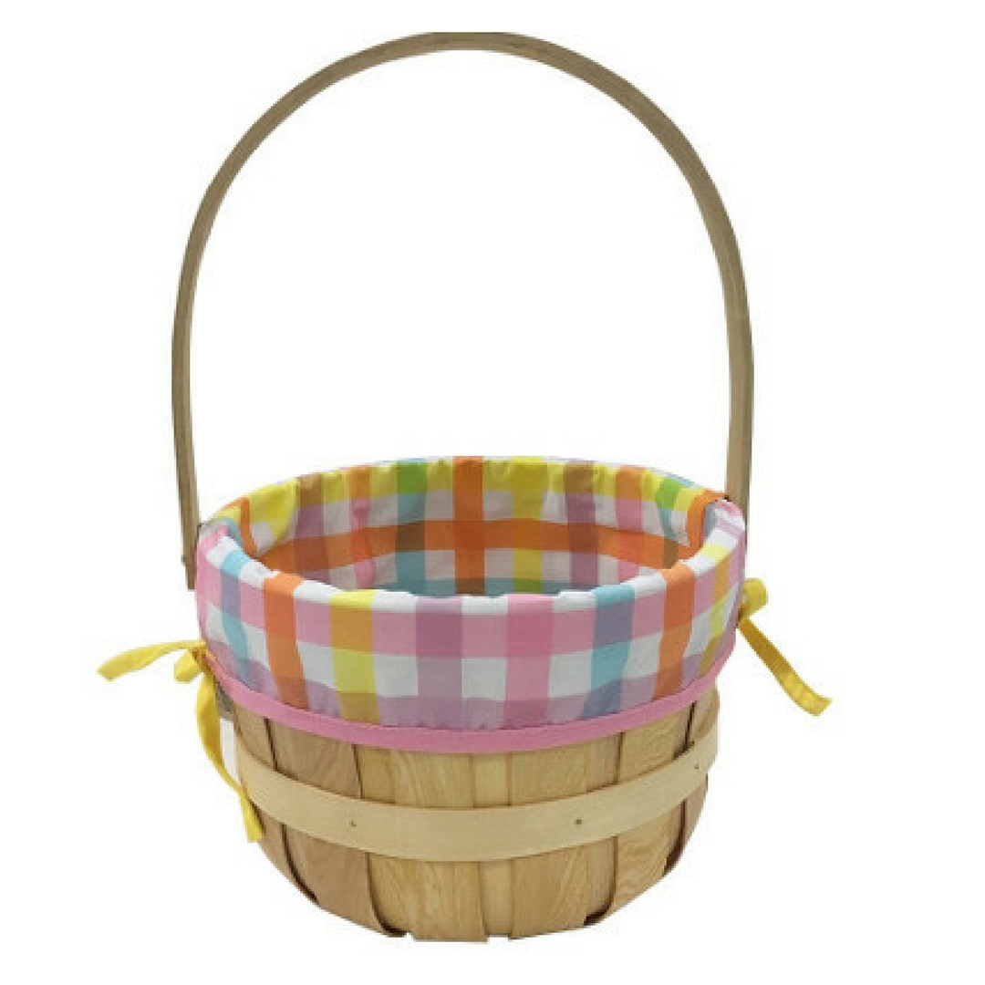 Chipwood Easter Baskets for kids with Madras Pattern material Liner