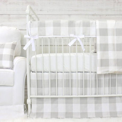 Farmhouse bumperless baby country bedding in gray & white check