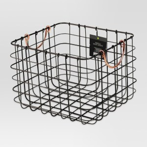 5. Small Milk Crate Wire Basket - Antique Pewter with Copper Colored Handles