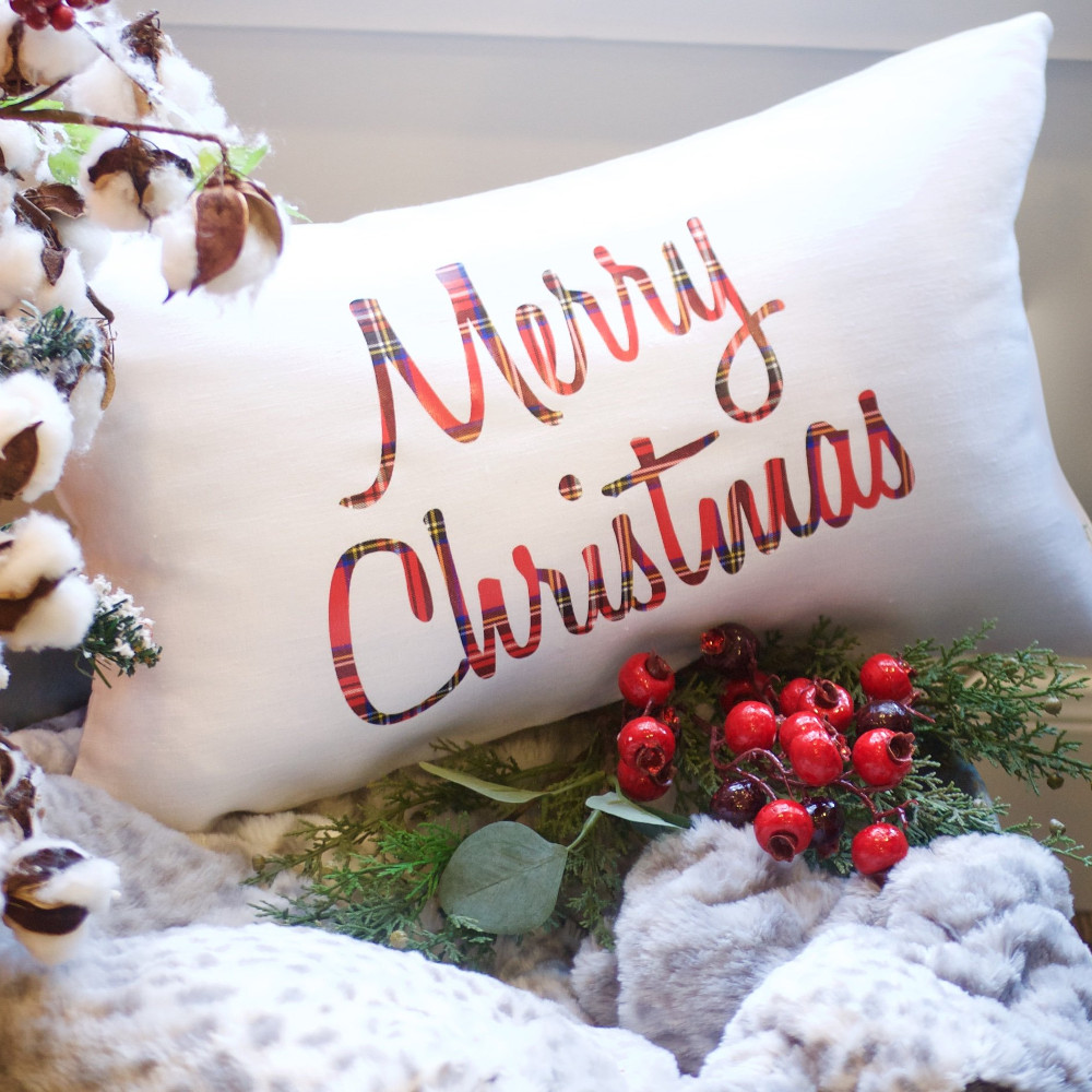 Plaid Merry Christmas Pillow-The Scoop for Mommies