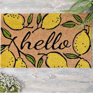 Hello Lemon Doormat with lemons