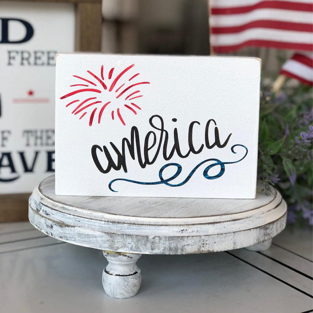 Tiered Tray Mini Sign for the 4th of July that says America