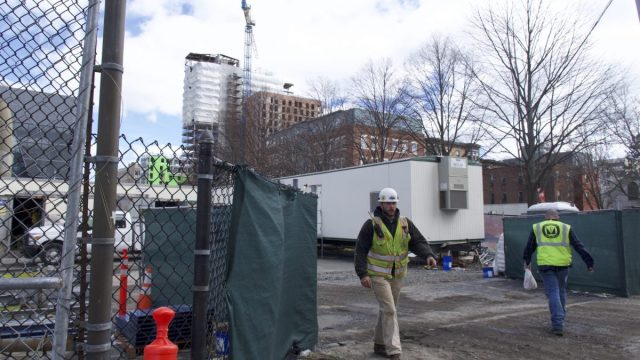 Northeastern has multiple active construction sites along Columbus Avenue in Roxbury. Photo by Zach Ben-Amots.