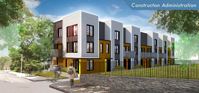 Architectural rendering of the housing project slated for 24 Westminster Ave., where units are designed to adapt to changing family structures. / Photo via dreamcollaborative.com