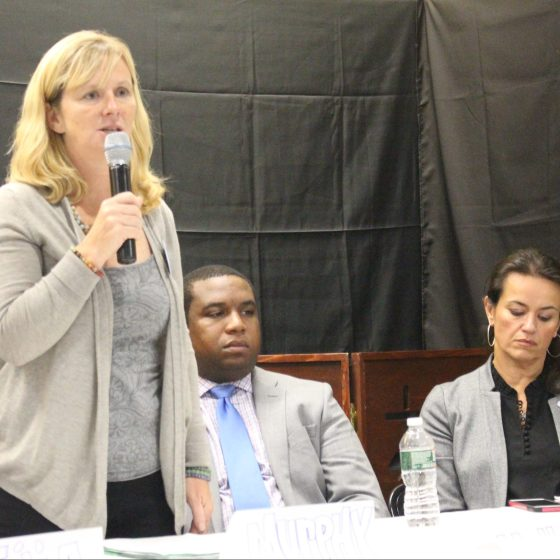 City Councilor at-large candidate Erin Murphy has repeatedly told voters that the opioid epidemic has impacted her personally. Up until last week, at the Right to the City forum on Oct. 9, she had never publicly disclosed any details. Photo by Alexa Gagosz.
