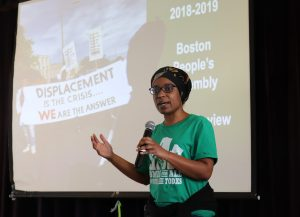 Lisa Owens, executive director of City Life/Vida Urbana spoke at the meeting last week. Photo by Eileen O'Grady.
