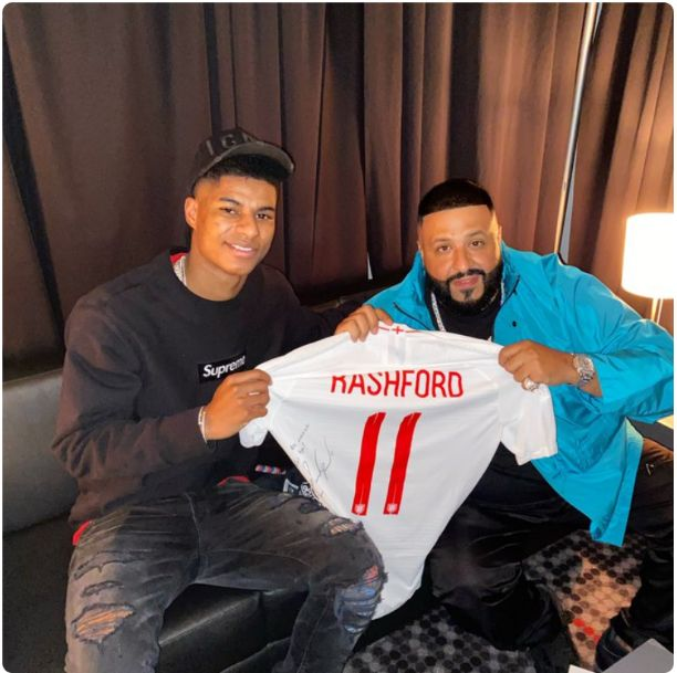 Manchester United Striker, Rashford congratulates DJ Khalid on his Grammy Award
