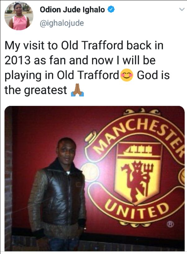 Meet Odion Jude Ighalo as Manchester United fan in 2013 and as a player in 2020
