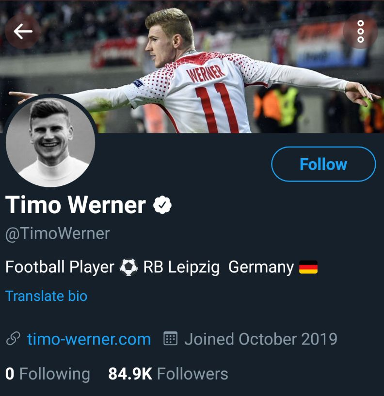 Why Timo Werner Follow No One On His Twitter Page