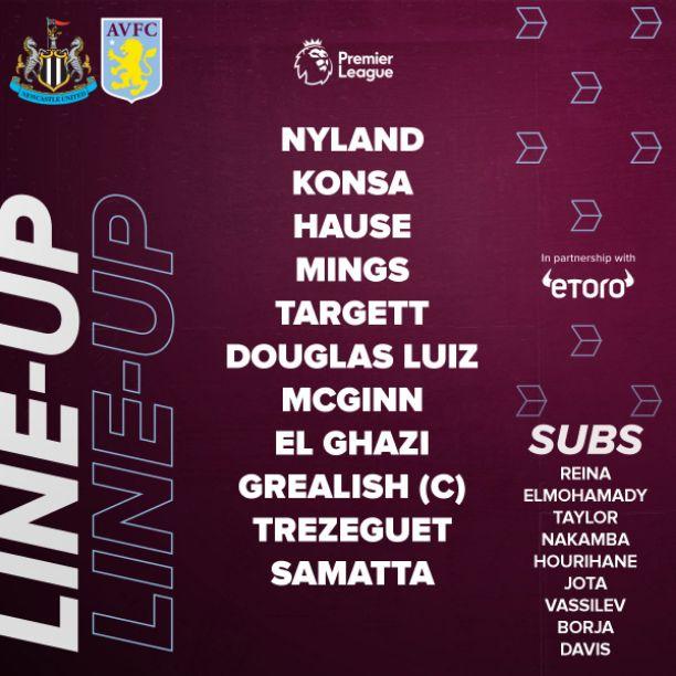 Aston Villa lineup