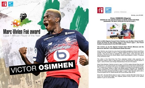 Victor Osimhen win 2020 Marc-Vivien Foe prize for Best African Player in French Ligue 1
