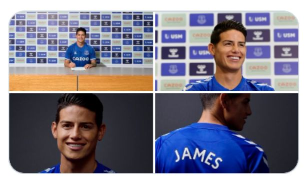 Everton completed €25m signing of James Rodriguez on 2-year deal from Madrid