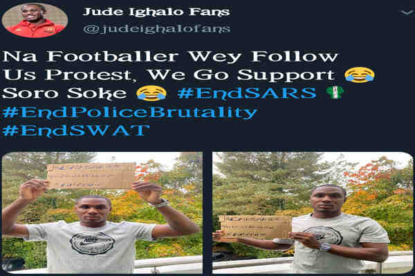 Odion Jude Ighalo joins #EndSARS protest in Nigera