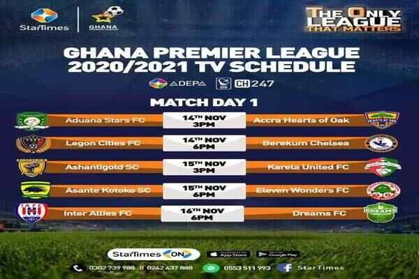 Ghana Premier League 2020/2021 Season: Fixtures, Dates and Time