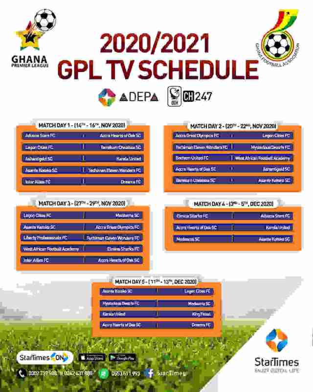 Ghana Premier League 2020/2021 Fixtures