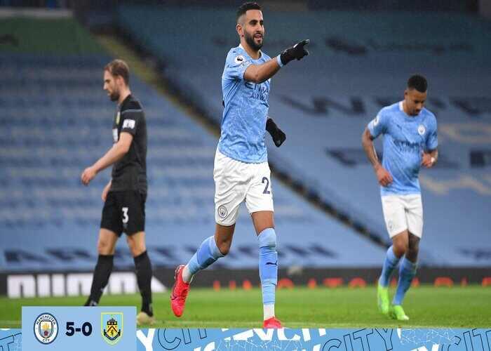 Riyad Mahrez scores first Hat-trick as Man City thrash Burnley 5-0 at Etihad