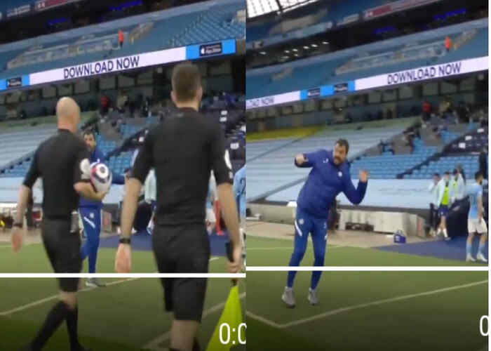 Reactions as Chelsea coach mock and laugh at Anthony Taylor in EPL game against Man City (Video)