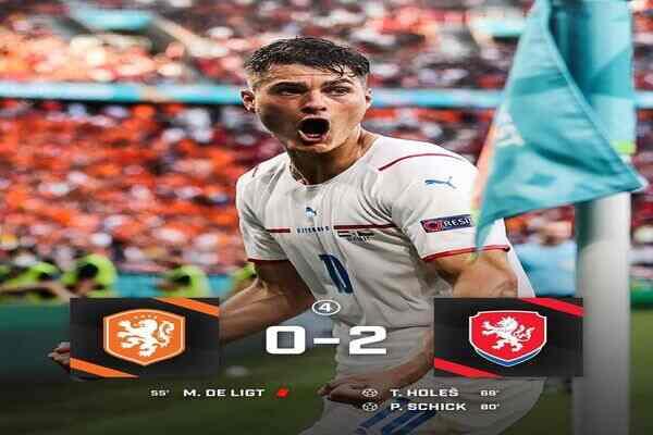 Czech Republic beats Netherlands 2-0 to qualified to Euro 2020 quarter-finals