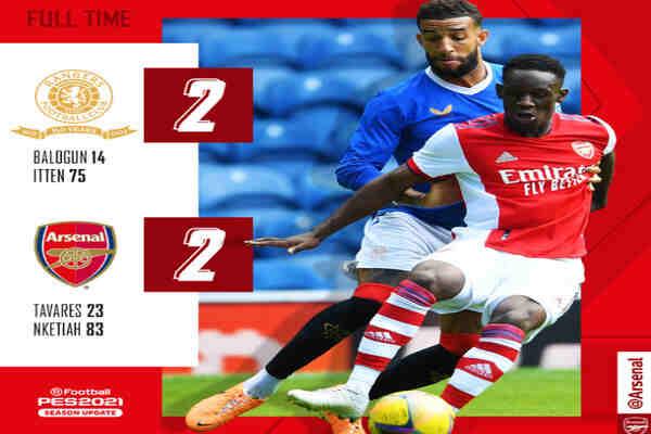 Rangers 2-2 Arsenal: Nigeria Super Eagles Defender, Balogun Scores For Ranger