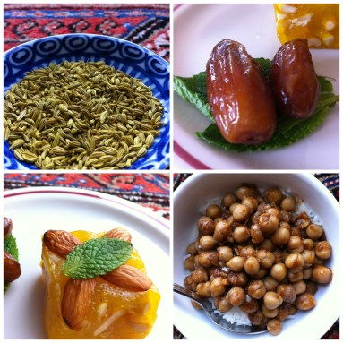 Left to right: salted fennel seeds, dates and mint leaves, karachi halwa, channa masale with white rice.