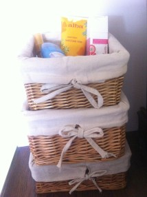 #9: Use nesting baskets to hold nail polish, lotions, makeup, hair elastics, and extra buttons.
