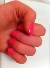 2: Paint all of your nails EXCEPT for your ring finger (optional) a base color. Paint your ring finger an accent color.