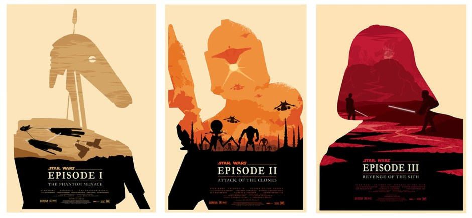 Stars Wars Episodes I, II, and III Minimalistic Posters by Olly Moss