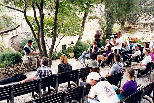 Communion at the garden tomb in Jerusalem