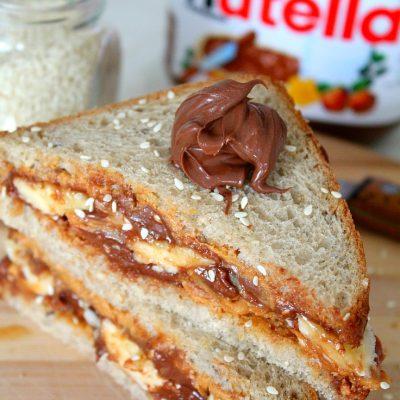 Peanut butter Nutella breakfast sandwich