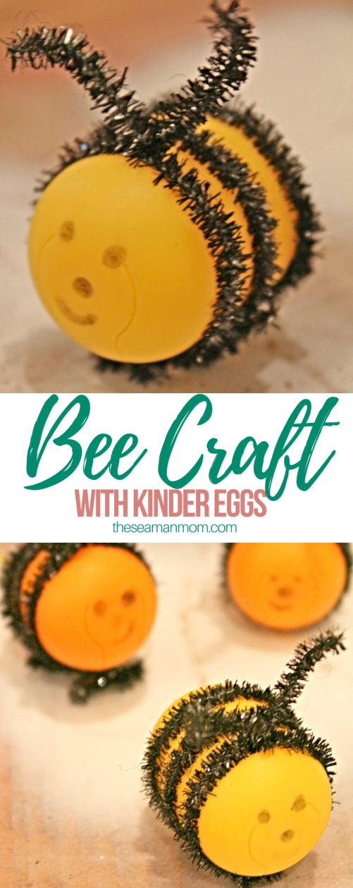 Bee craft with Kinder eggs and chenille pipes