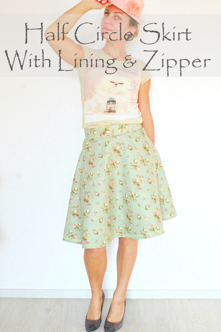 Half circle skirt with zipper and lining in floral print