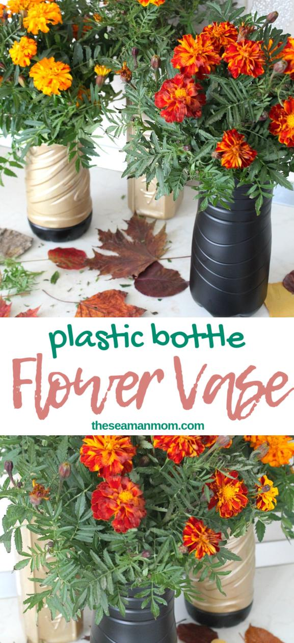 Plastic bottle flower vase