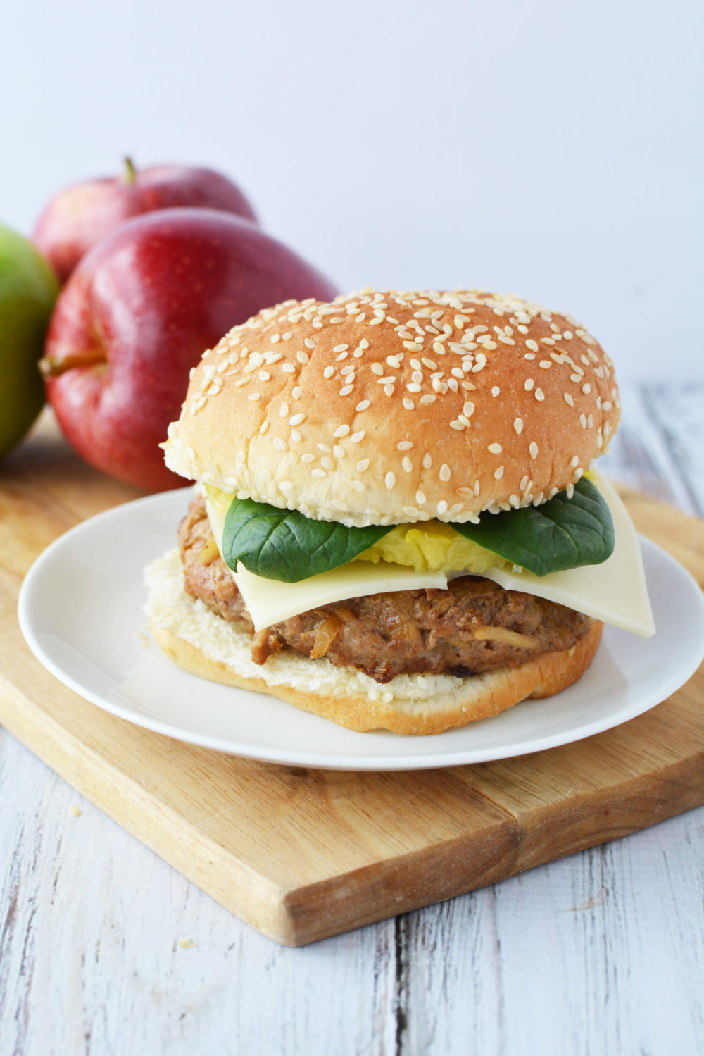 Pork and apple burger recipe with pineapple and fresh spinach