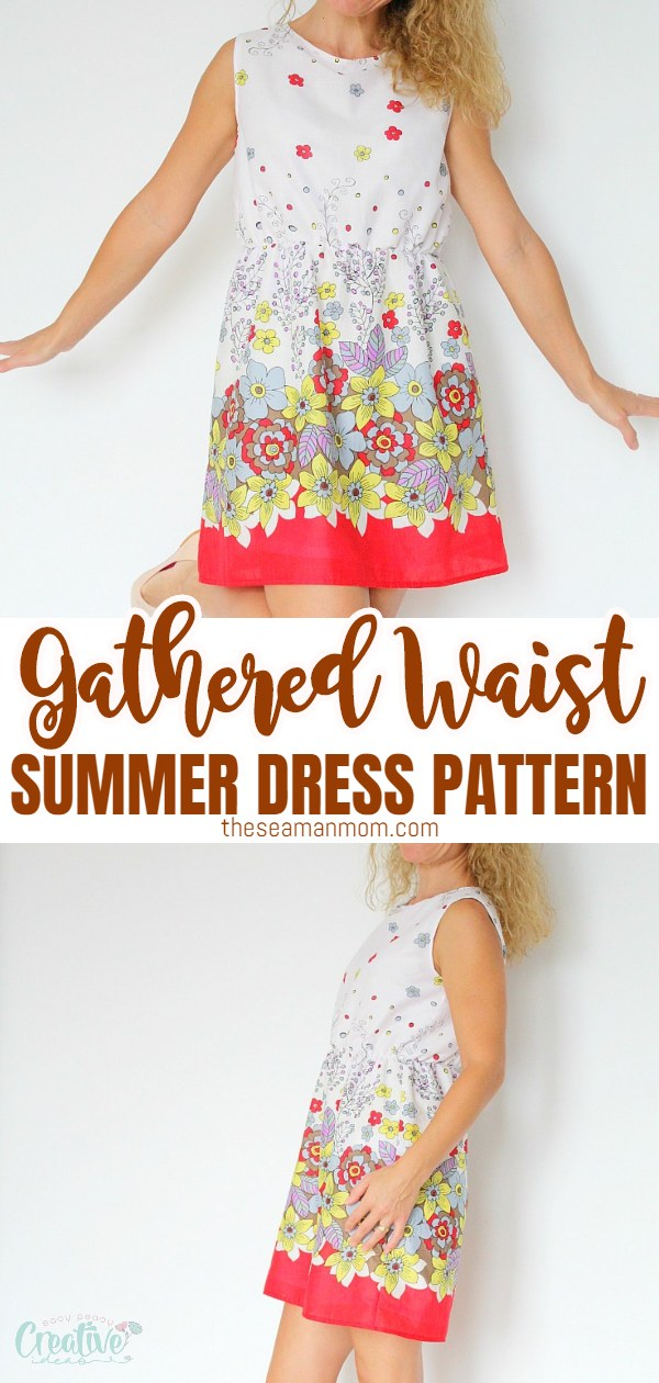 A gathered waist dress pattern is the perfect clothing item for summer! Fun and easy to sew, this simple summer dress pattern and tutorial is suitable for all levels. via @petroneagu