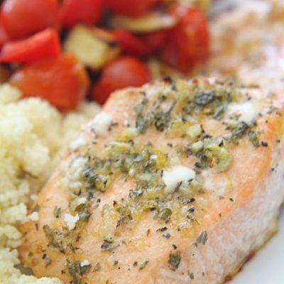 Lemon Herb Salmon With Vegetables And Couscous