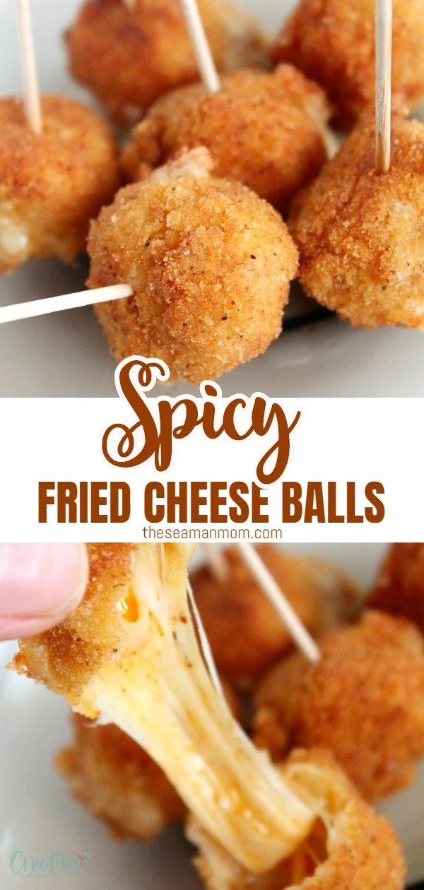 Entertaining soon but don't have much time to spare on making fancy, time consuming appetizers? These spicy fried cheese balls are so insanely easy to make and perfect for any party!  via @petroneagu