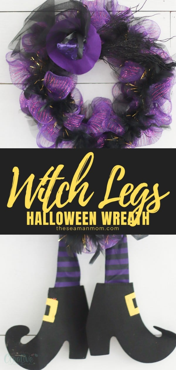"""Want a Halloween wreath that is fun and whimsical and everyone is sure to enjoy? Try this witch wreath with legs! This decorative Halloween wreath is """"dressed"""" to thrill and you can use it to decorate for Halloween all sorts of ways: hung on your front door, an indoor wall, or as a centerpiece! via @petroneagu"""