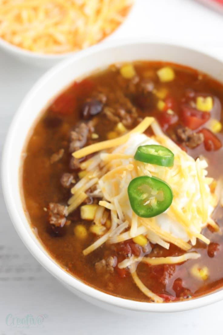 Beef taco soup