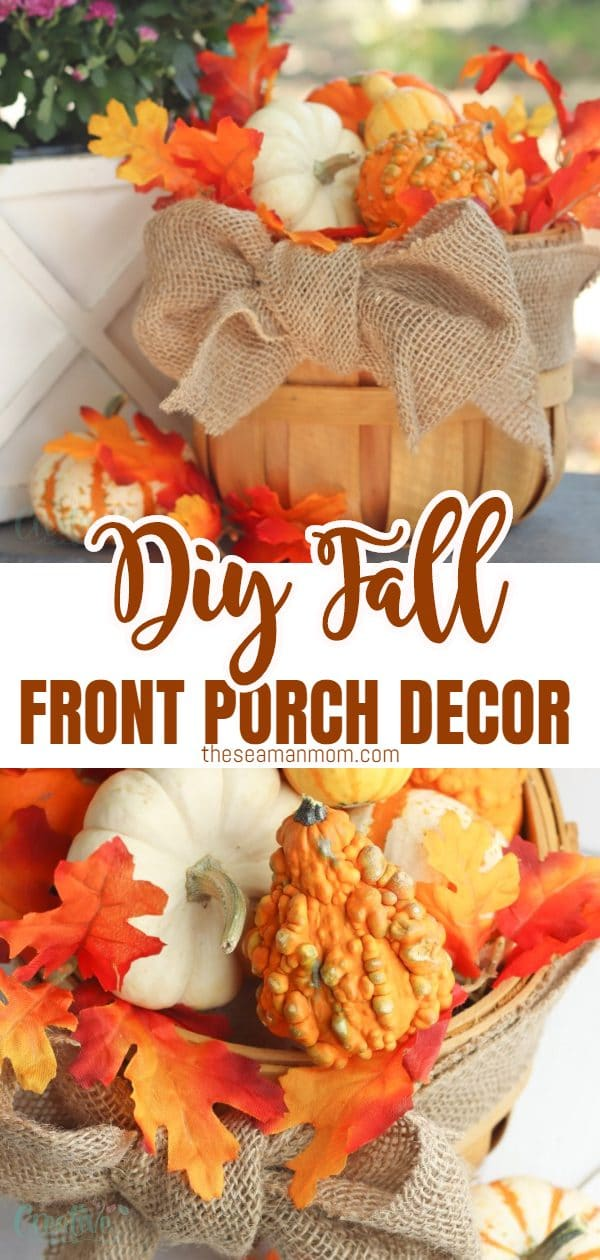 This fall, make the most out of your extra outdoor area with this adorable fall front porch decor! Made with bushel basket, this fall porch decor takes minutes to make but looks stunning and impressive! via @petroneagu