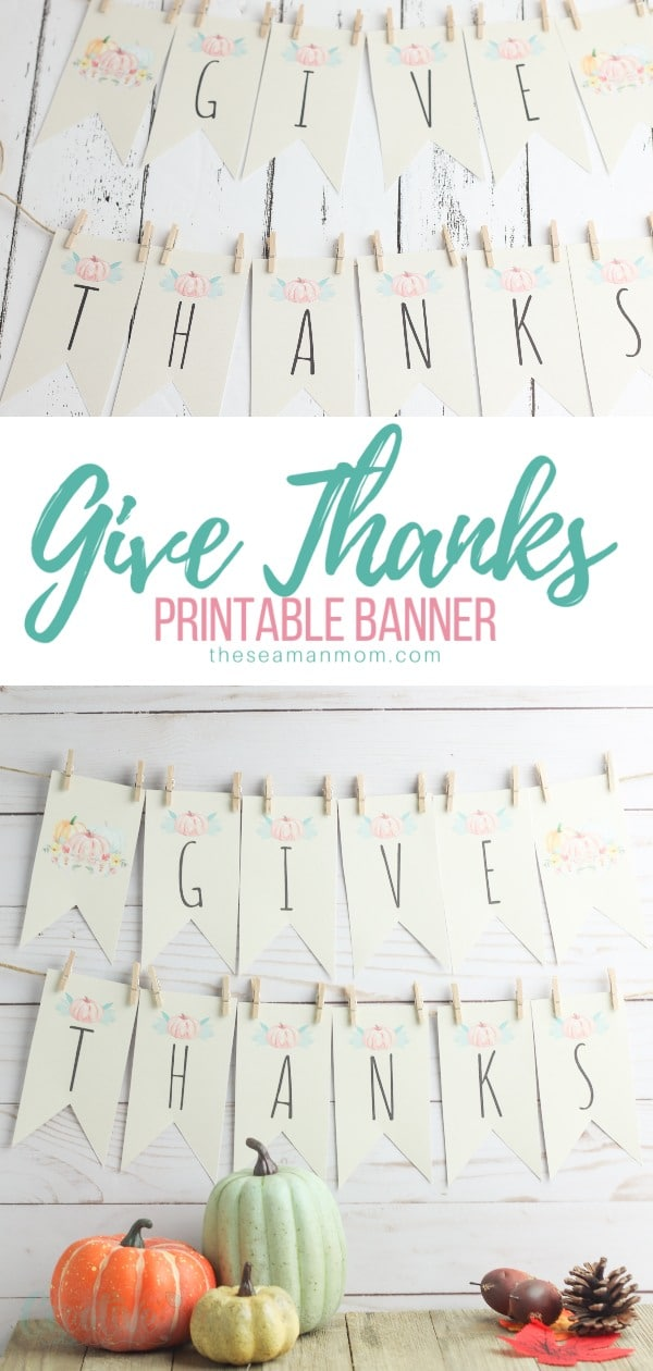 Make decorating for Thanksgiving a breeze with a beautiful Thanksgiving banner! This rustic Give Thanks banner is the perfect way to add a little bit of Thanksgiving charm to your fall decor! via @petroneagu