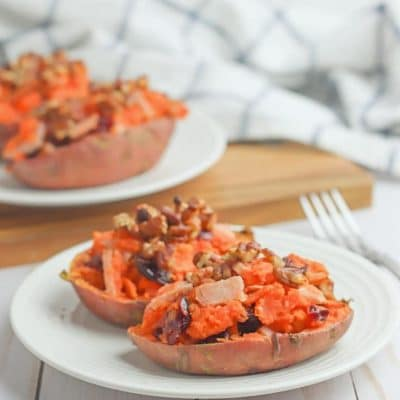 Leftover turkey stuffed sweet potatoes