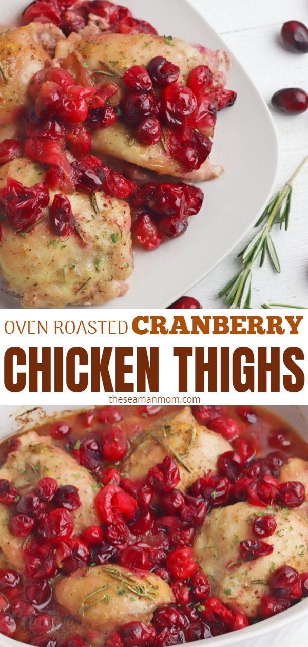 This delicious recipe for cranberry chicken thighs is a cozy, simple dinner idea that's perfect for cool nights! These juicy oven roasted chicken thighs with tart cranberries are healthy and perfect for holidays too! via @petroneagu