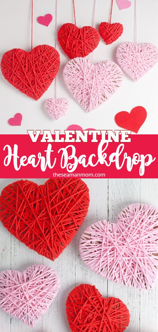 Looking for cute Valentine backdrop ideas for your party? With this simple tutorial for yarn wrapped hearts, you'll have the most adorable Valentines backdrop for your Valentine's Day festivities! via @petroneagu