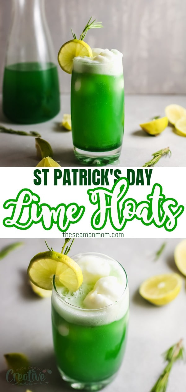 This St. Patrick's lime sherbet punch is a super refreshing and festive treat! Made with a simple lime syrup and paired with a zesty sherbet this, is the perfect drink to make when you want to cool down! via @petroneagu