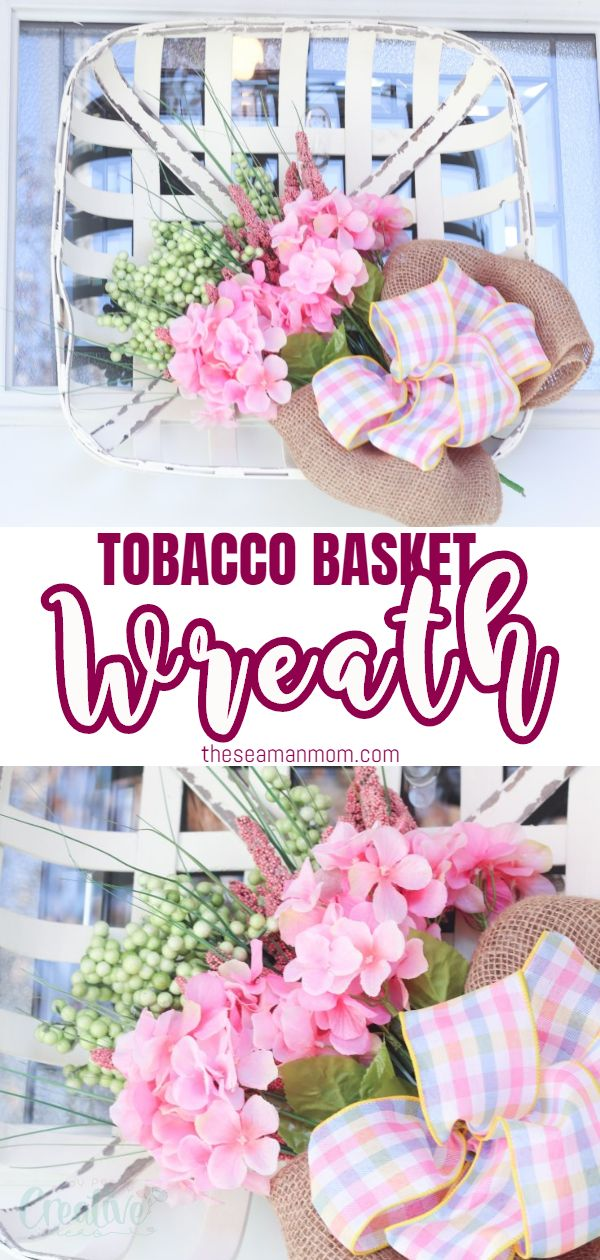 If you're looking for farmhouse spring decor that won't break your budget, this tobacco basket wreath is the perfect piece! This spring front door decor is really beautiful and interesting and you'll love the simple farmhouse feel it brings to your front door! via @petroneagu